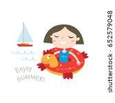 enjoy summer greeting card in... | Shutterstock .eps vector #652579048