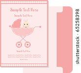 baby girl arrival card 2 | Shutterstock .eps vector #65258398