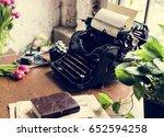 retro typewriter machine old...   Shutterstock . vector #652594258