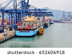 container ship in port at... | Shutterstock . vector #652606918