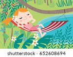 landscape with cute children in ... | Shutterstock .eps vector #652608694