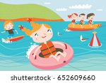 landscape with cute children in ... | Shutterstock .eps vector #652609660