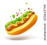 hot dog with sausage lettuce... | Shutterstock .eps vector #652615744