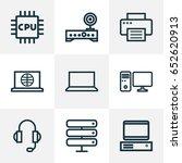 hardware outline icons set.... | Shutterstock .eps vector #652620913