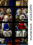 Small photo of LIER, BELGIUM - MAY 16, 2016: Stained Glass window in St Gummarus Church in Lier, Belgium, depicting Mother Mary and the Apostles at Pentecost