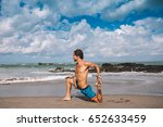 young man practice yoga on the... | Shutterstock . vector #652633459