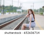 cute woman standing at the... | Shutterstock . vector #652636714