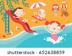 landscape with cute children... | Shutterstock .eps vector #652638859