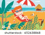 landscape with cute child in.... | Shutterstock .eps vector #652638868