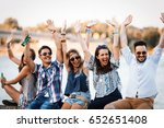 friends having fun outdoors and ... | Shutterstock . vector #652651408