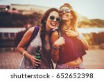 happy friends laughing and...   Shutterstock . vector #652652398