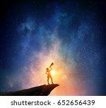 woman against starry sky .... | Shutterstock . vector #652656439