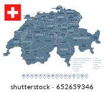 switzerland map and flag  ... | Shutterstock .eps vector #652659346