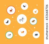 flat rooster  hound  king and... | Shutterstock .eps vector #652668706