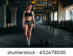 female athlete with muscular... | Shutterstock . vector #652678030