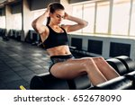 slim female athlete trains... | Shutterstock . vector #652678090