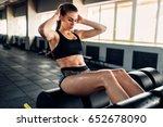 slim female athlete trains...   Shutterstock . vector #652678090