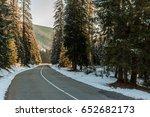 italian road in winter sunrise... | Shutterstock . vector #652682173