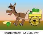The Donkey Is Harnessed To A...