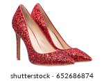 women  red shoes with glitter ... | Shutterstock . vector #652686874