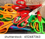 Piles of any color scissors.