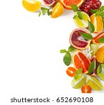 composition of citrus fruits... | Shutterstock . vector #652690108
