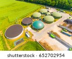 aerial view over biogas plant... | Shutterstock . vector #652702954