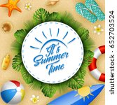 summer beach background circle... | Shutterstock .eps vector #652703524