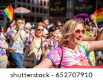 Small photo of Toronto, CA - 3 July 2016: Happy parade goers participate in 2016 Toronto Gay Pride March