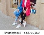 two fashion young women wearing ...   Shutterstock . vector #652710160