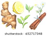 green tea leaf and tea spices... | Shutterstock . vector #652717348