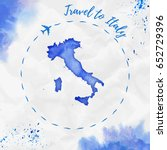 italy watercolor map in blue... | Shutterstock .eps vector #652729396