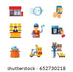 postal services icon set | Shutterstock .eps vector #652730218