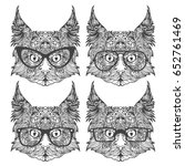 set of fashion cat faces with... | Shutterstock .eps vector #652761469