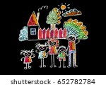 kids drawing happy family... | Shutterstock . vector #652782784