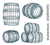 vector wooden barrel. hand... | Shutterstock .eps vector #652804393