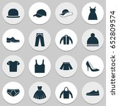 clothes icons set. collection... | Shutterstock .eps vector #652809574
