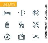 traveling outline icons set.... | Shutterstock .eps vector #652809838