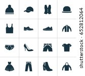 clothes icons set. collection... | Shutterstock .eps vector #652812064