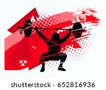 the athlete lifts the barbell   Shutterstock .eps vector #652816936