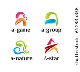 set of 3d a initial logo... | Shutterstock .eps vector #652835368
