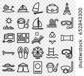 vacation icons set. set of 25... | Shutterstock .eps vector #652843300
