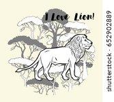 lion and savanna trees print.... | Shutterstock . vector #652902889