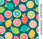 colorful citrus fruit seamless... | Shutterstock .eps vector #652913740