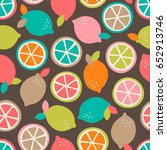 colorful citrus fruit seamless... | Shutterstock .eps vector #652913746