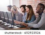 young call center team talking... | Shutterstock . vector #652923526