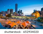 melbourne city skyline at... | Shutterstock . vector #652934020