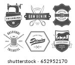 vintage tailoring denim labels. ... | Shutterstock .eps vector #652952170
