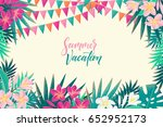 Palm leaves, pink, white frangipani (plumeria) flowers, flags horizontal template. Tropical beach party. Retro vector illustration. Summer vacation lettering. Invitation, banner, card, poster, flyer