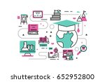 online degree line icons... | Shutterstock .eps vector #652952800